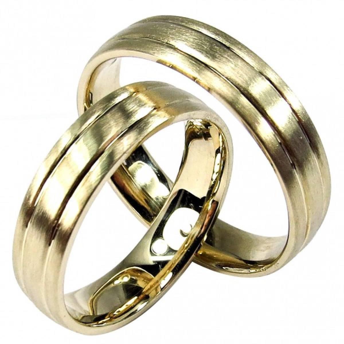 Alianças de Casamento foscadas em ouro amarelo de 9 e 19 kts