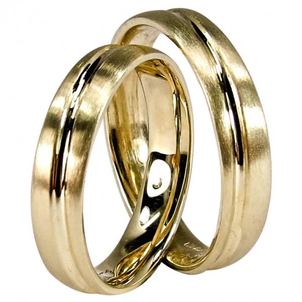 Alianças de casamento amendoadas foscadas