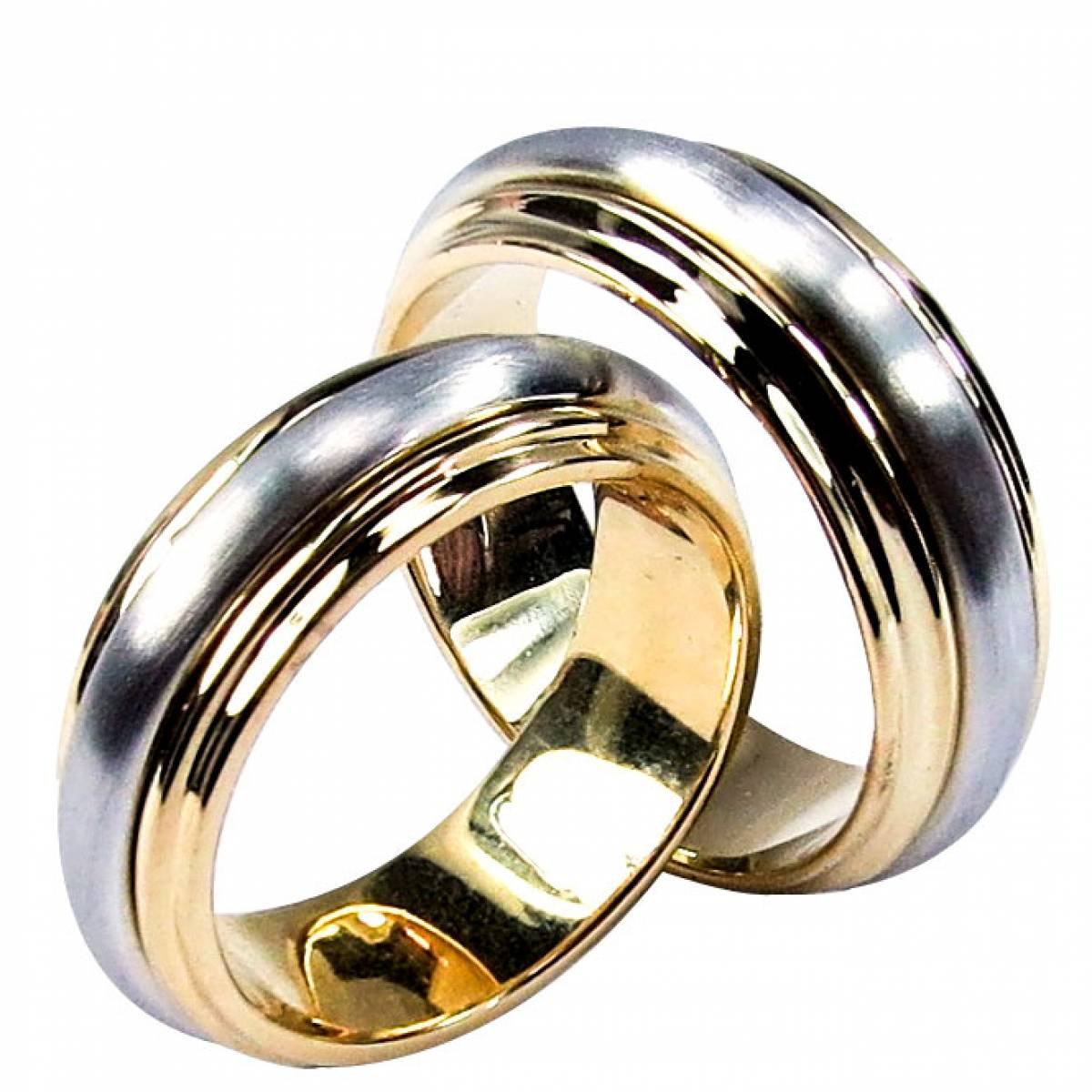Alianças de Casamento ouro bicolor de 9 e 19 kts