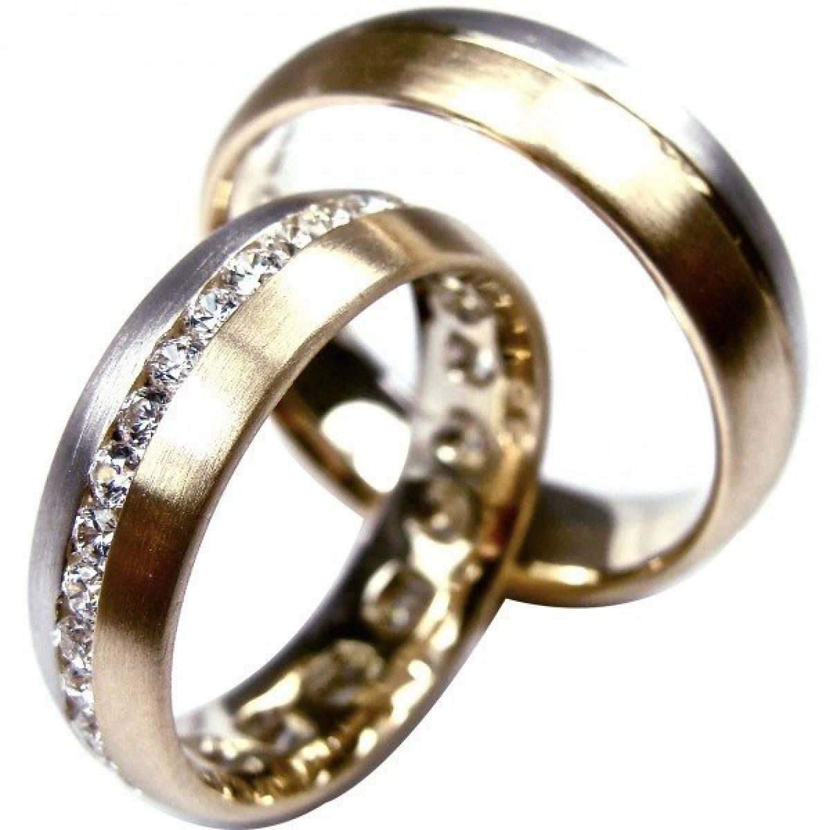 Alianças de Casamento Bicolores com 42 Diamantes de 0,84 cts