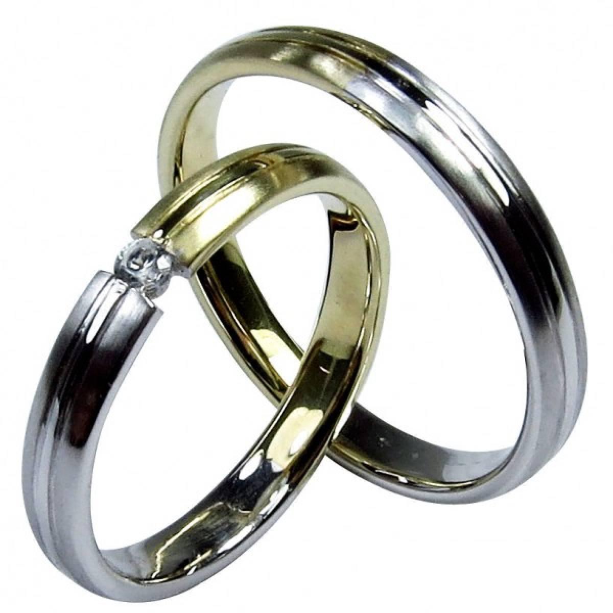 Alianças de Casamento bicolores com 1 diamante de 0,05 CTS