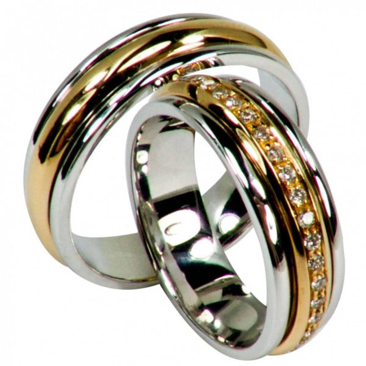 Alianças de Casamento bicolores com Diamantes ou Zircónias
