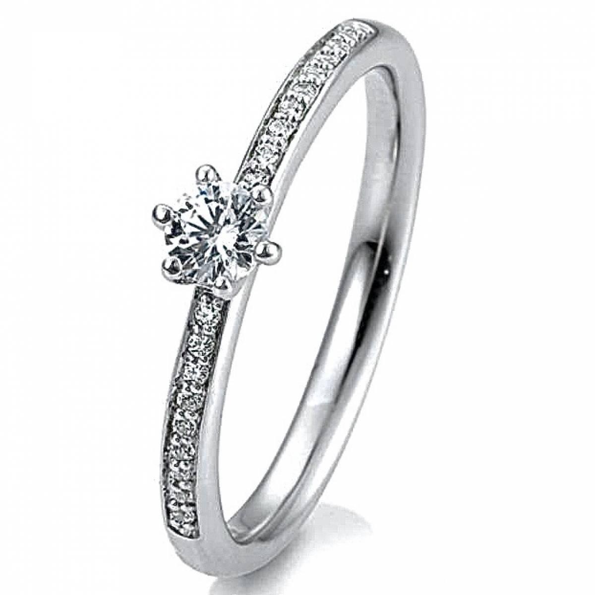 Anel de Noivado Ouro Branco, de 19,2 kts com Diamantes ou Zircónias