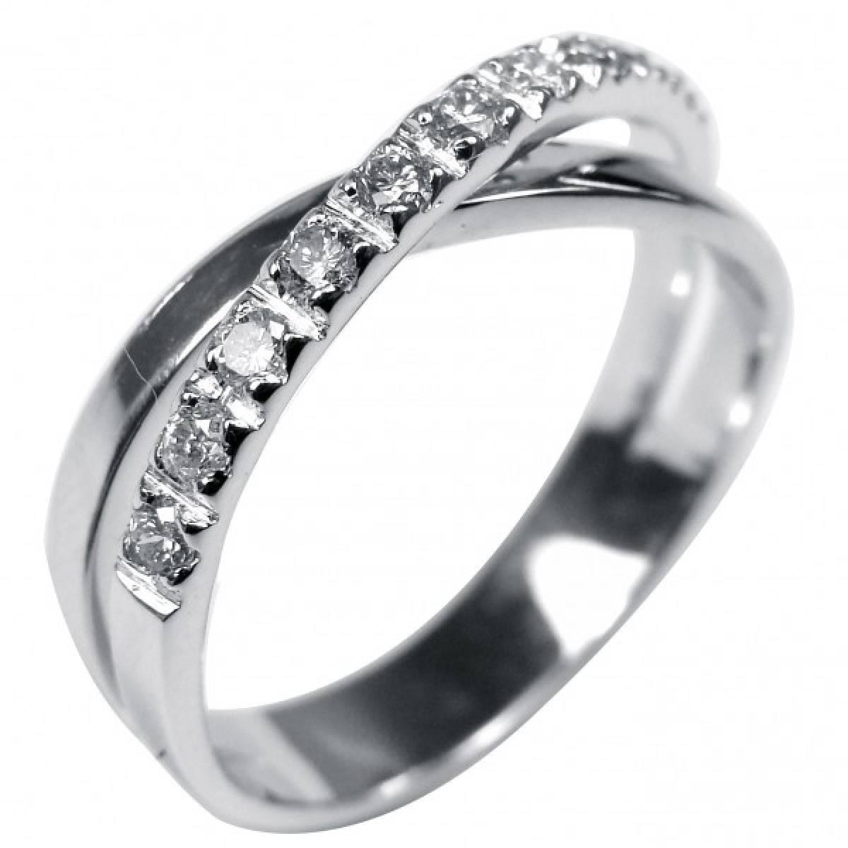 Anel de Noivado ouro branco de 19 kts com 10 diamantes de 0,33 cts