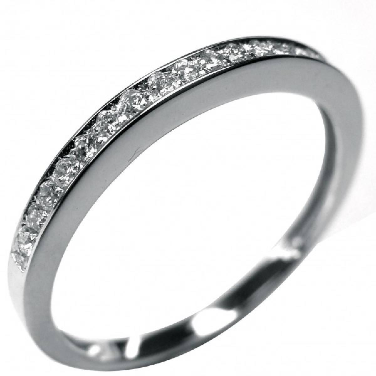 Anel de Noivado ouro branco de 19 kts, com 19 diamantes de 0,19 cts