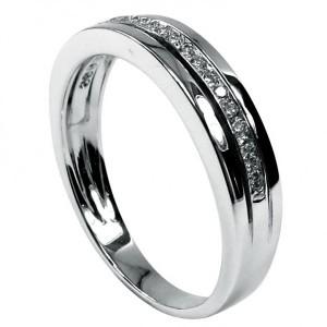 Anel de Noivado ouro branco com diamantes ou zircónias