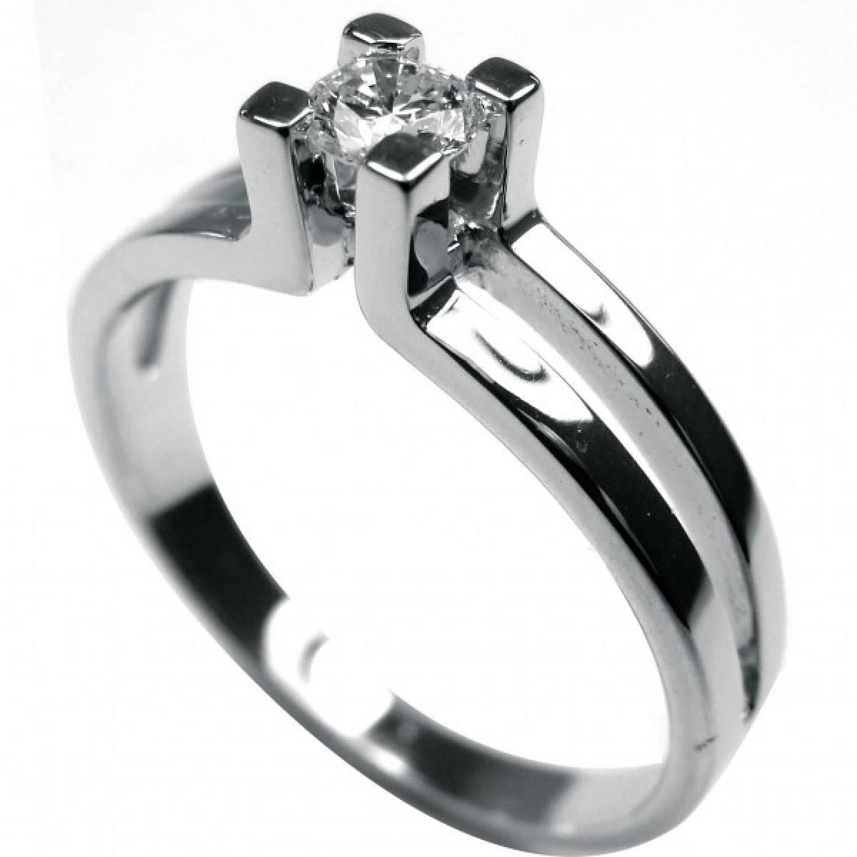 Anel de Noivado, Solitário, Ouro Branco, com 1 diamante de 0, 23 cts