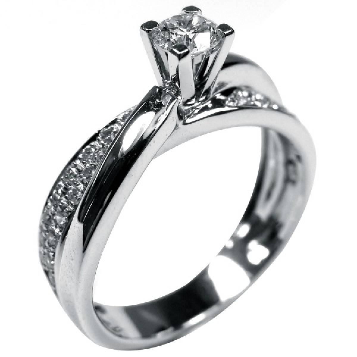 Anel de Noivado em ouro branco de 9 e 19 kt, com diamantes ou zircónias