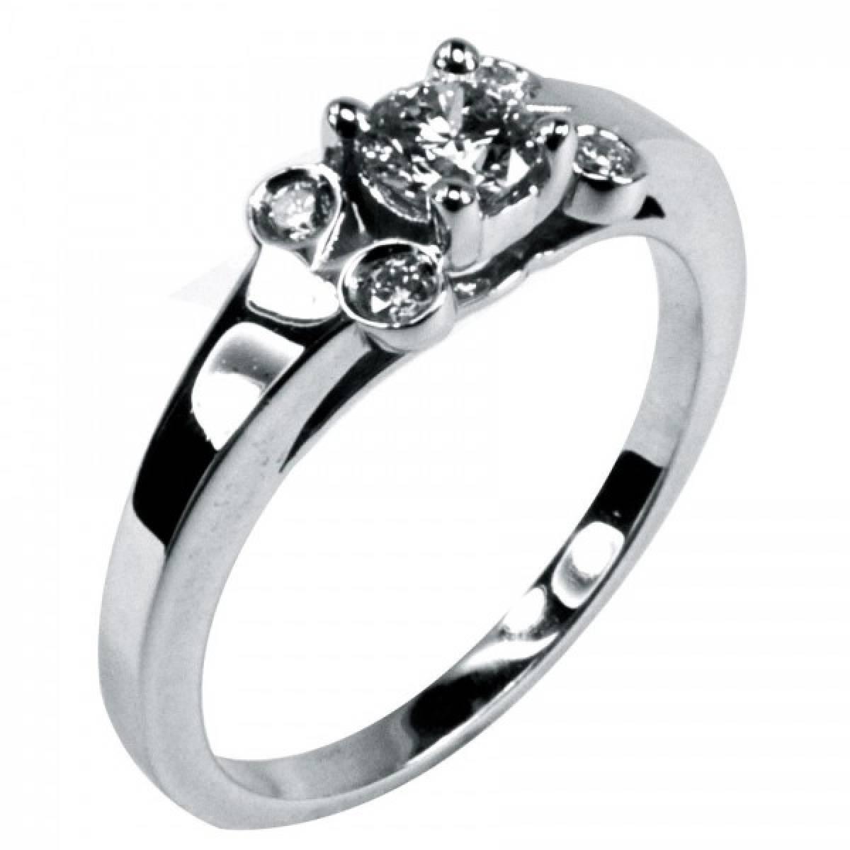 Anel de Noivado em Ouro de Branco de 19,2 kts (800) com Diamantes