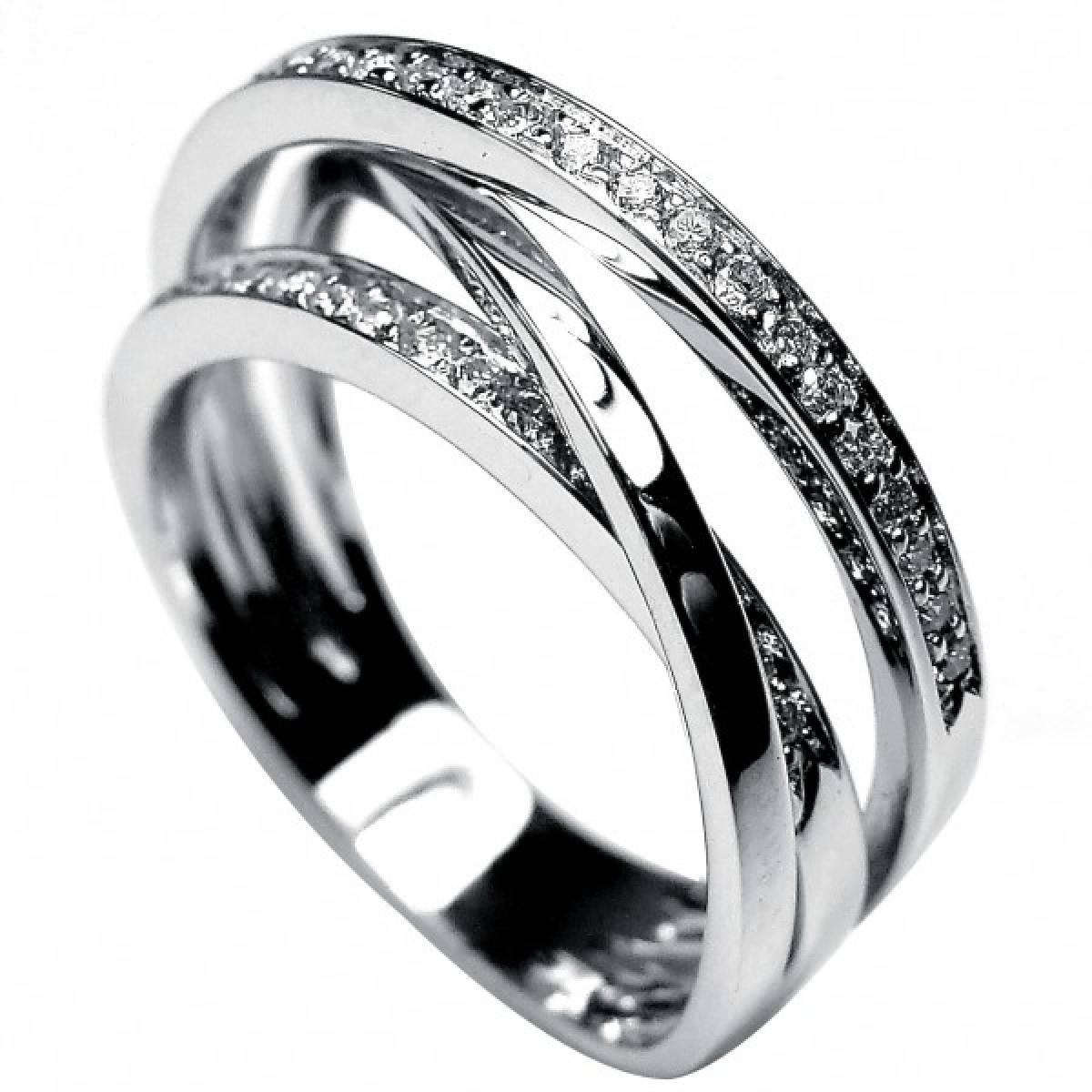 """Anel de Noivado Ouro Branco """"Pesarum"""", com Diamantes ou Zircónias"""