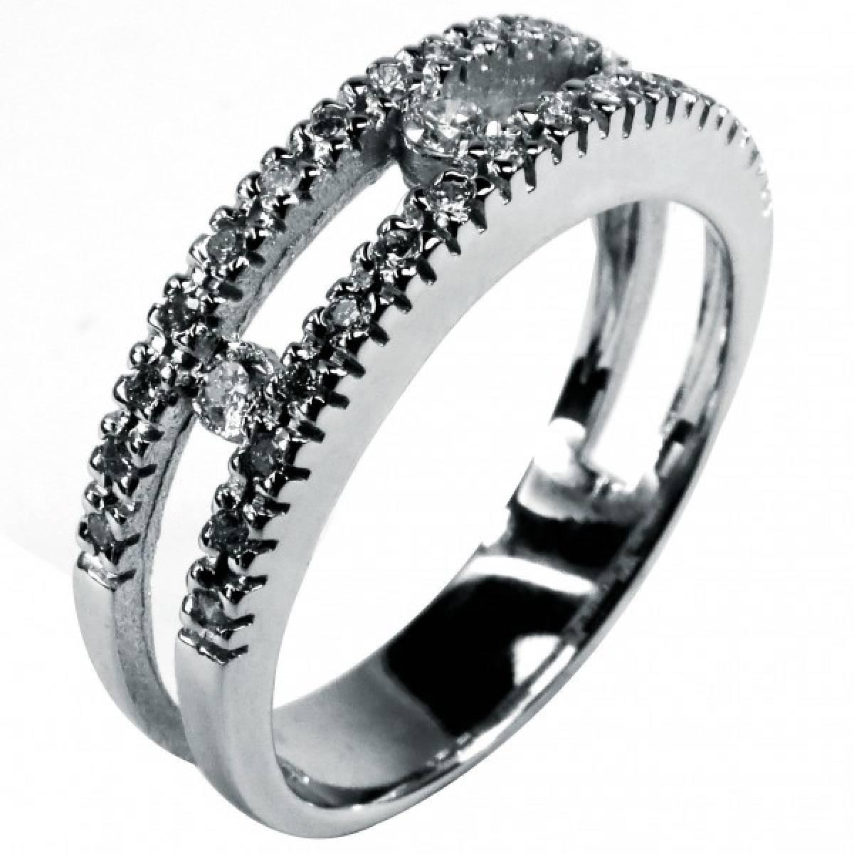 Anel de Noivado com diamantes ou zircónias em ouro de 9 ou 19,2 k