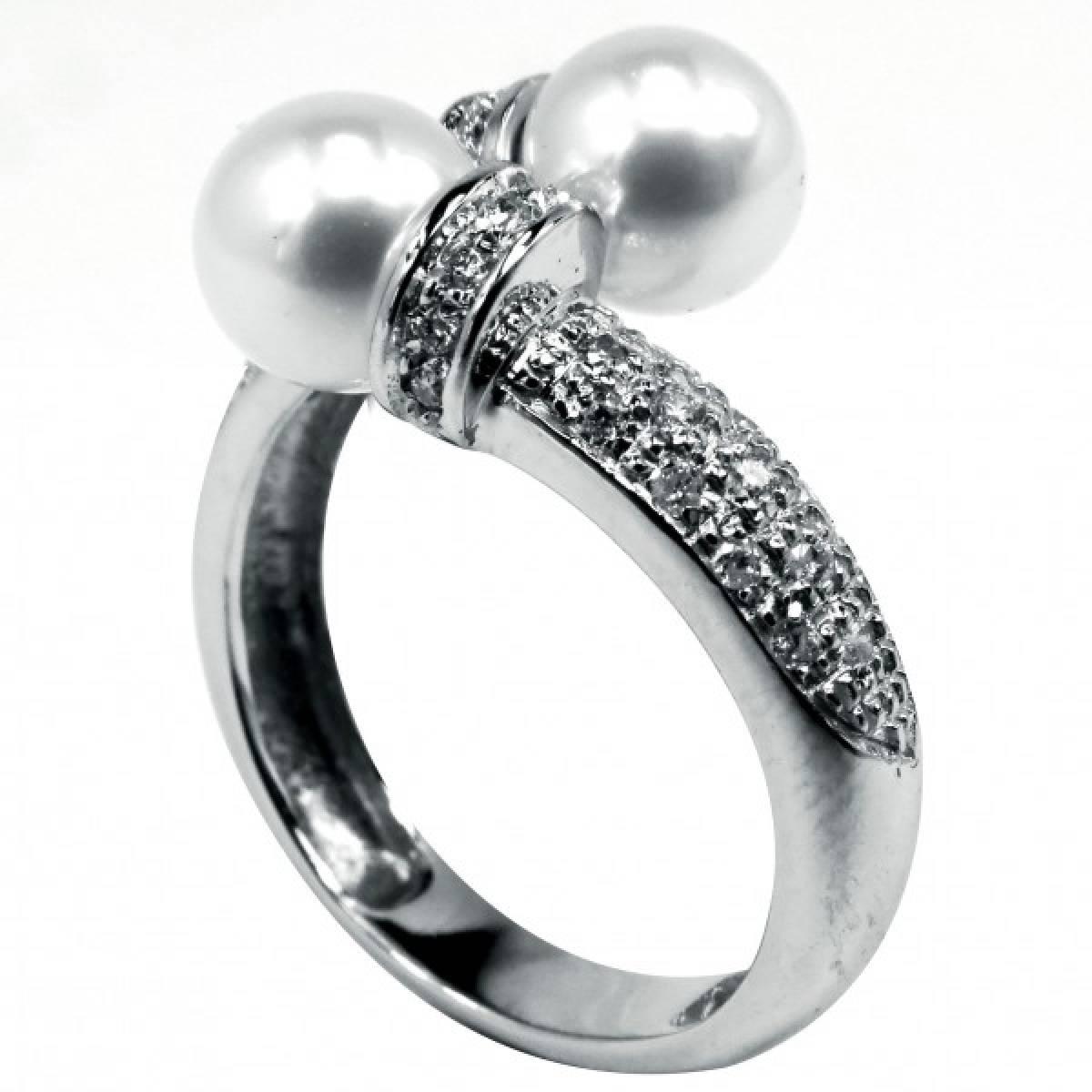 Anel de Noivado com diamantes ou zircónias 2 pérolas em ouro de 19,2 k