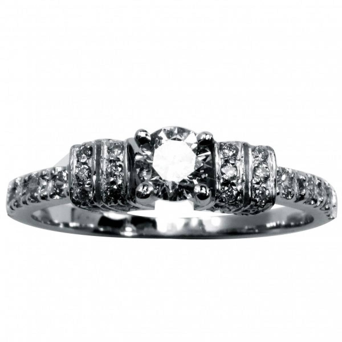Anel de Noivado com diamantes ou zircónias em ouro de 19 kts