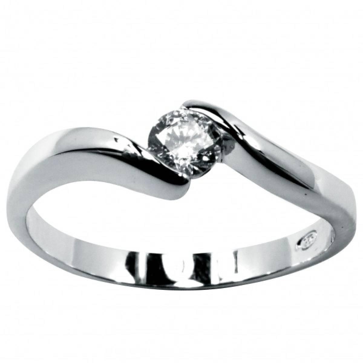 Anel de Noivado com diamante ou zircónia, em ouro branco