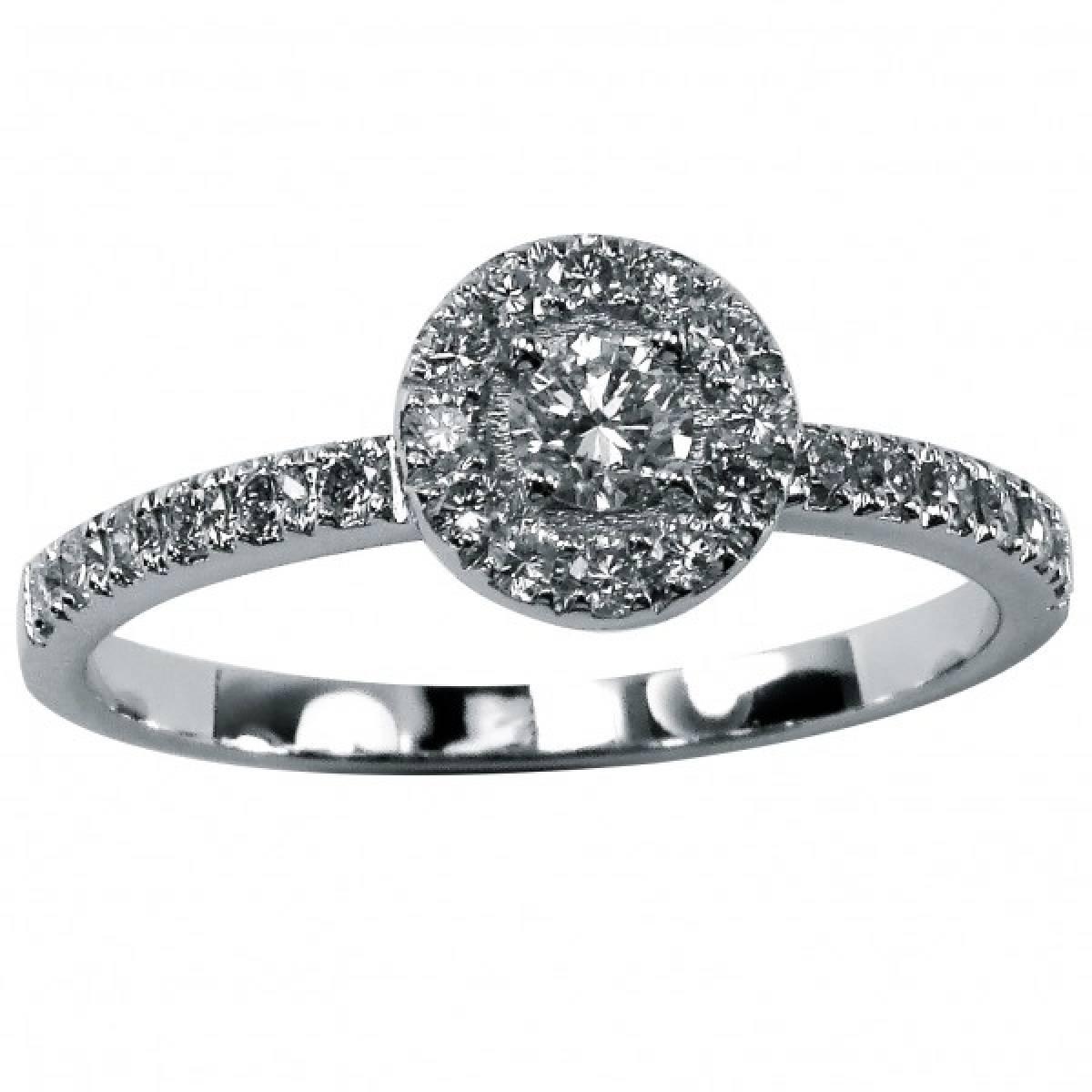 Anel de Noivado com diamantes ou zircónias, em ouro de 9 e 19 kts