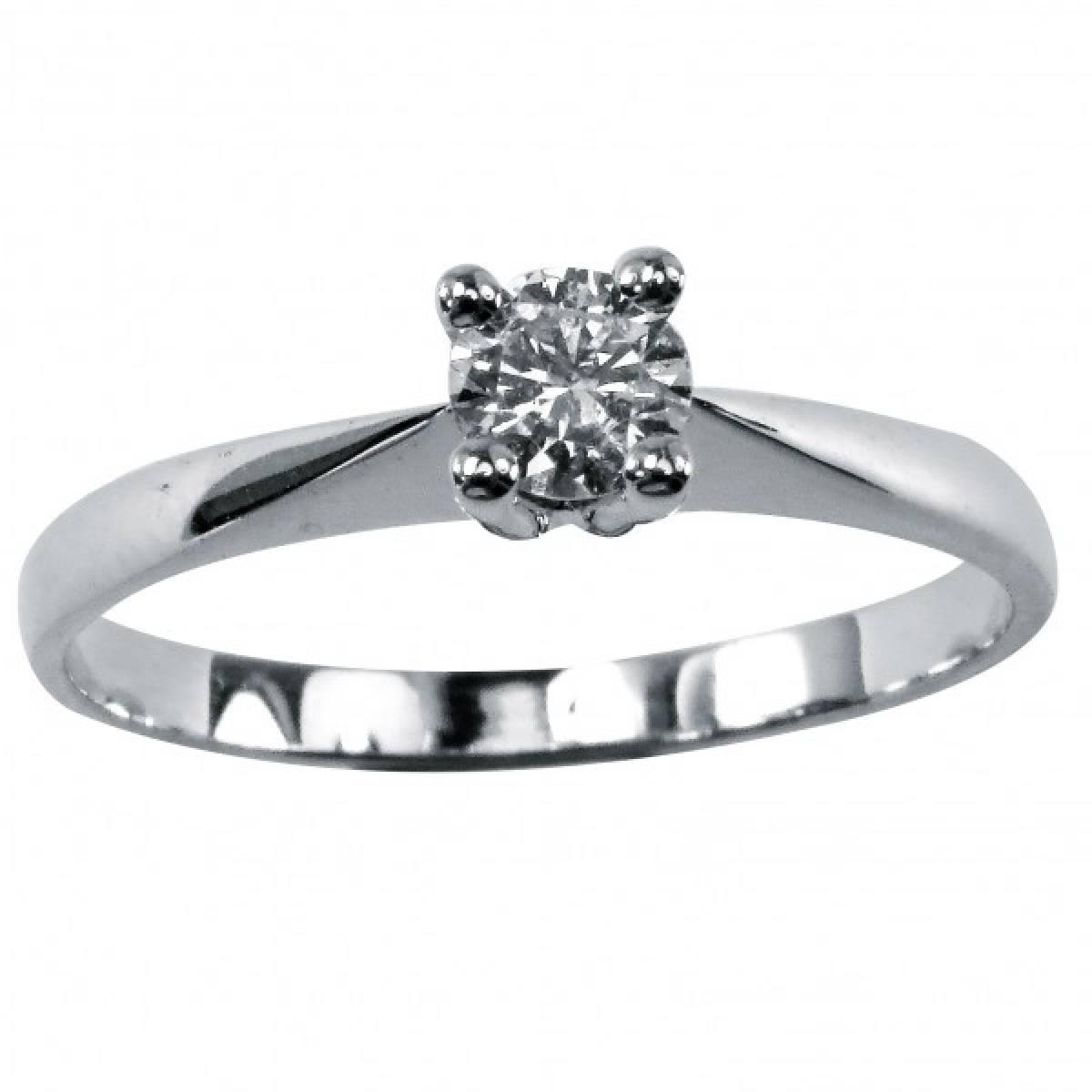 Anel de Noivado em ouro branco com diamante ou zircónia