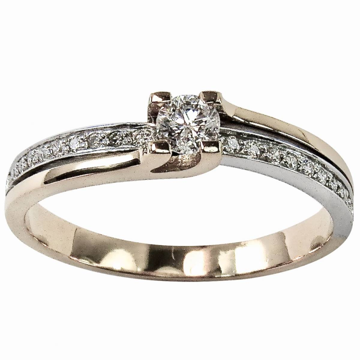 Anel de Noivado com diamantes ou zircónias em ouro branco