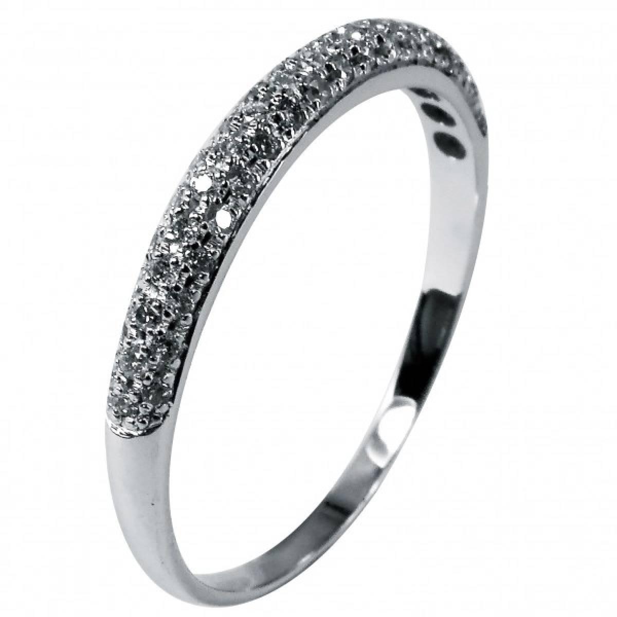 Anel de Noivado com diamantes ou zircónias, em ouro de 19 kts