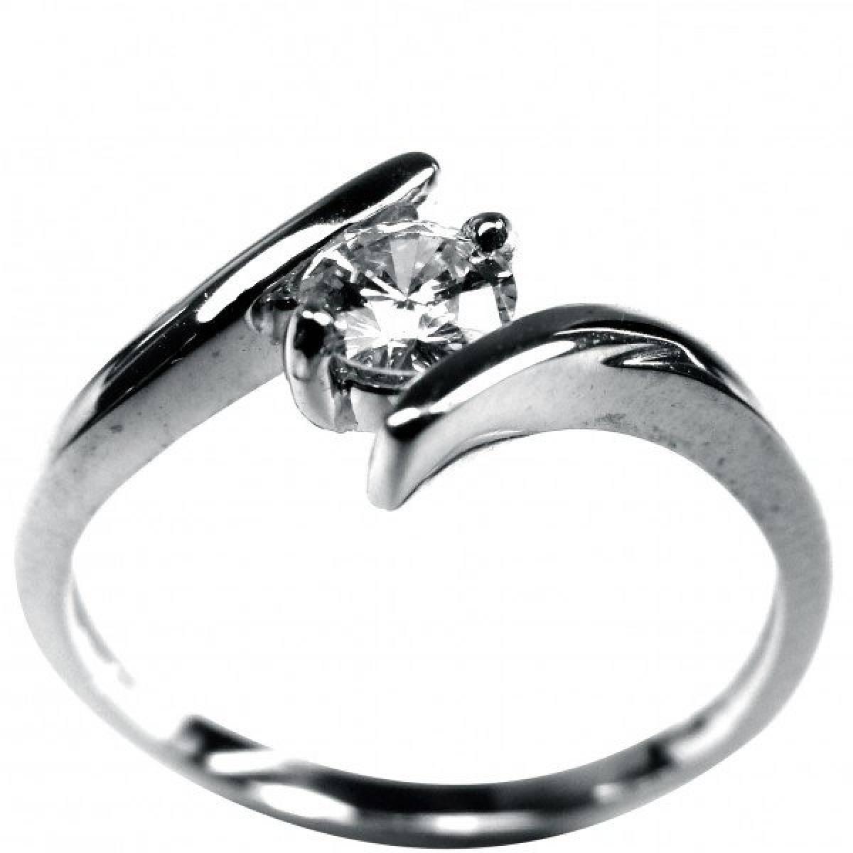 Anel de Noivado em ouro branco com 1 diamante de 0,30 cts