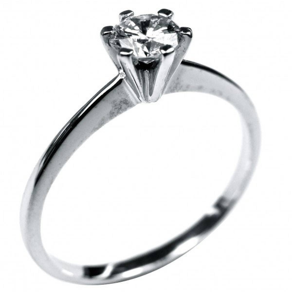"""Anel de Noivado """"Solitário"""" em ouro branco com Diamante de 0,35 cts"""
