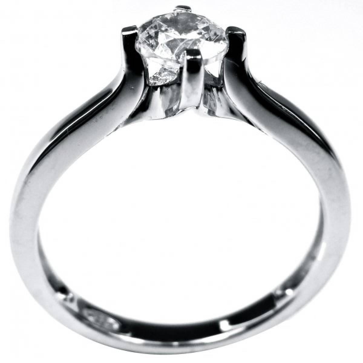 Anel de Noivado Solitário Ouro Branco com 1 diamante de 0,40 cts,