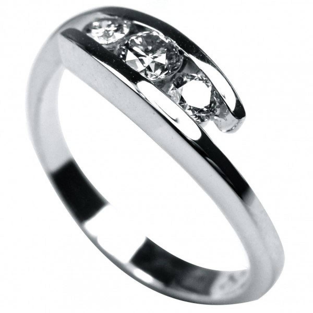 Anel de Noivado em ouro de 19,2 kts, com diamantes ou zircónias