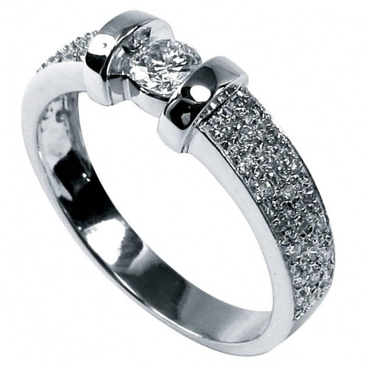 Anel de Noivado ouro de 19,2 kts, 1 diamante de 0,25 cts + 40 de 0,40 cts