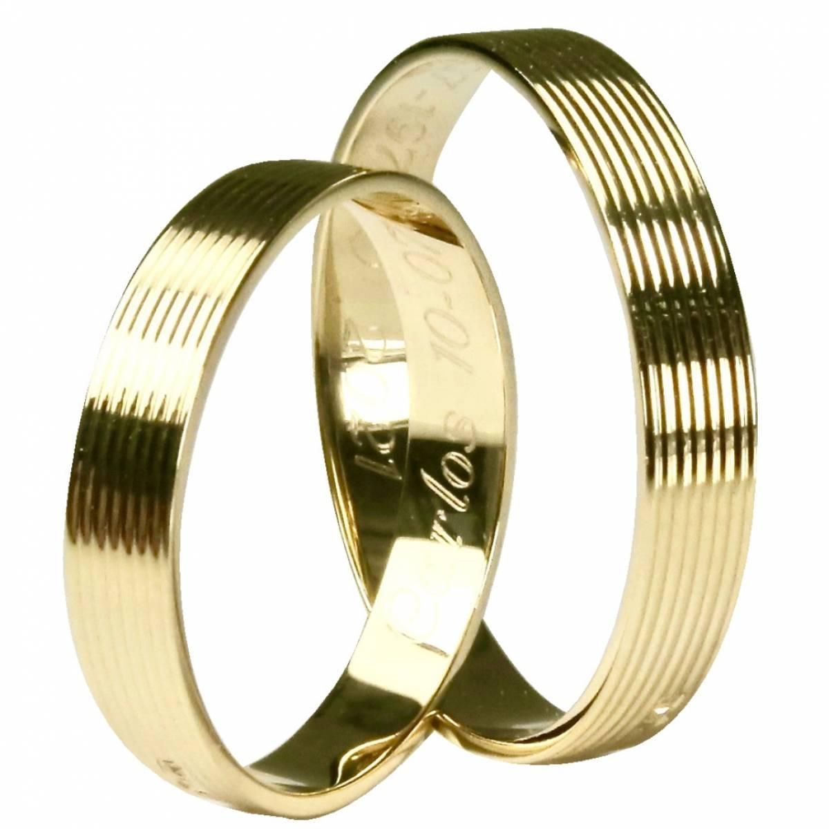 Alianças de Casamento com frisos em ouro amarelo de 9 e 19 bkts