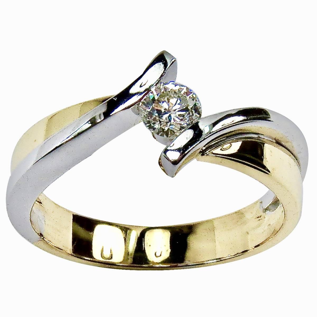 Anel de Noivado ouro branco ou bicolor, com diamantes ou zircónias
