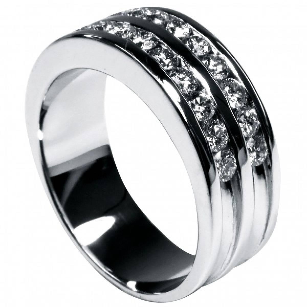 Anel de Noivado em ouro branco de 9 e 19 kts, c/ 24 diamantes de 1,00 kt