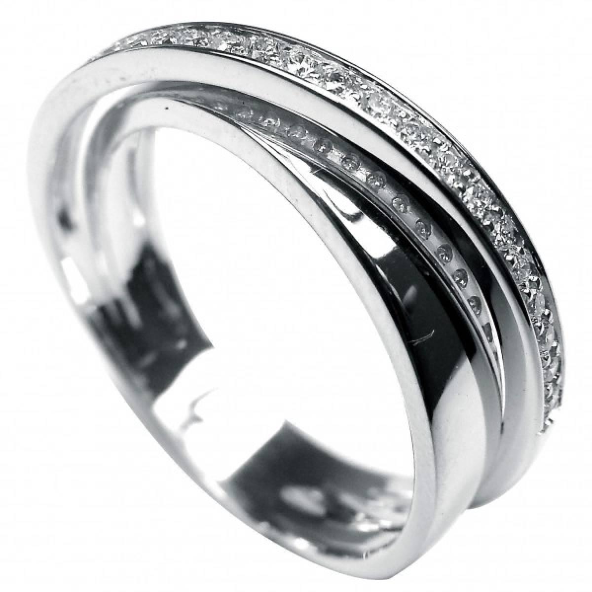 Anel de Noivado em Ouro Branco com Diamantes ou Safiras