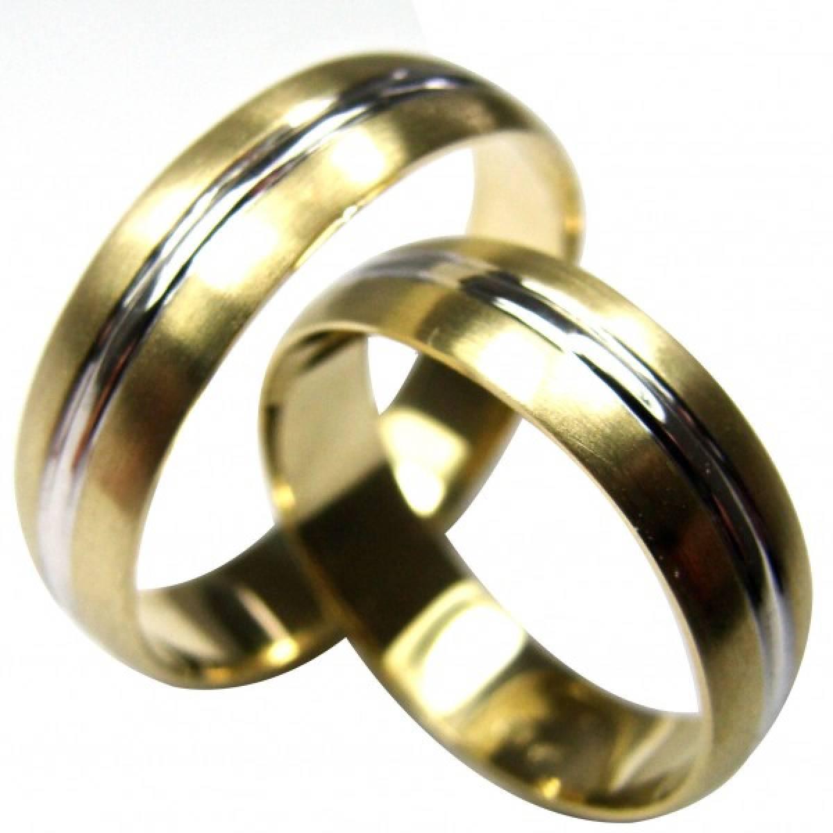 Alianças de ouro foscadas c/ friso em ouro branco, de 9 e 19 kts
