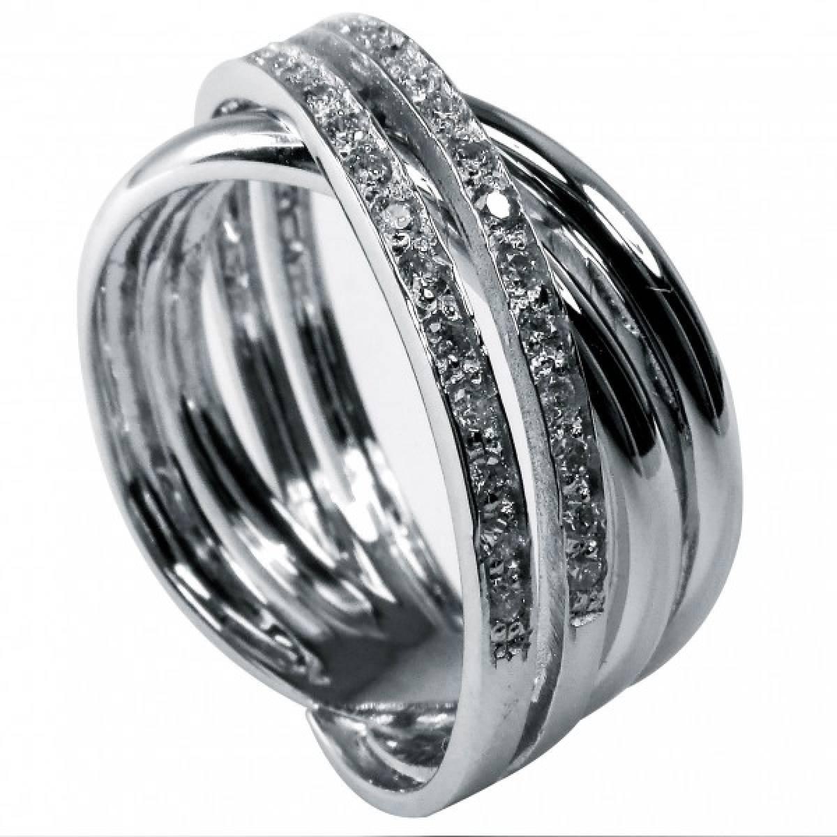 Anel de Noivado com Diamantes ou Safiras em Ouro Branco de 19,2 kts