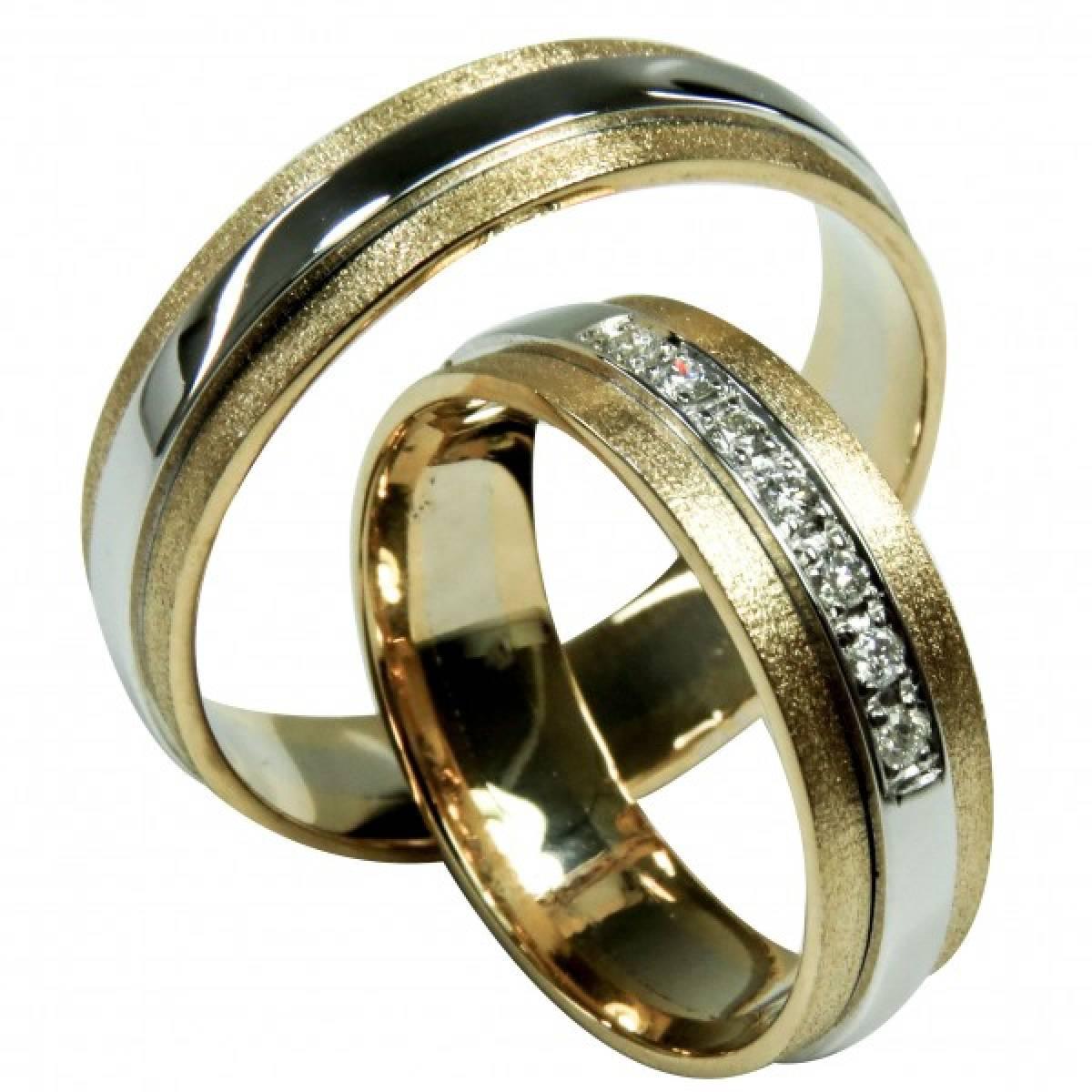Alianças de Casamento bicolores com diamantes ou zircónias ouro de 9 e 19 kts