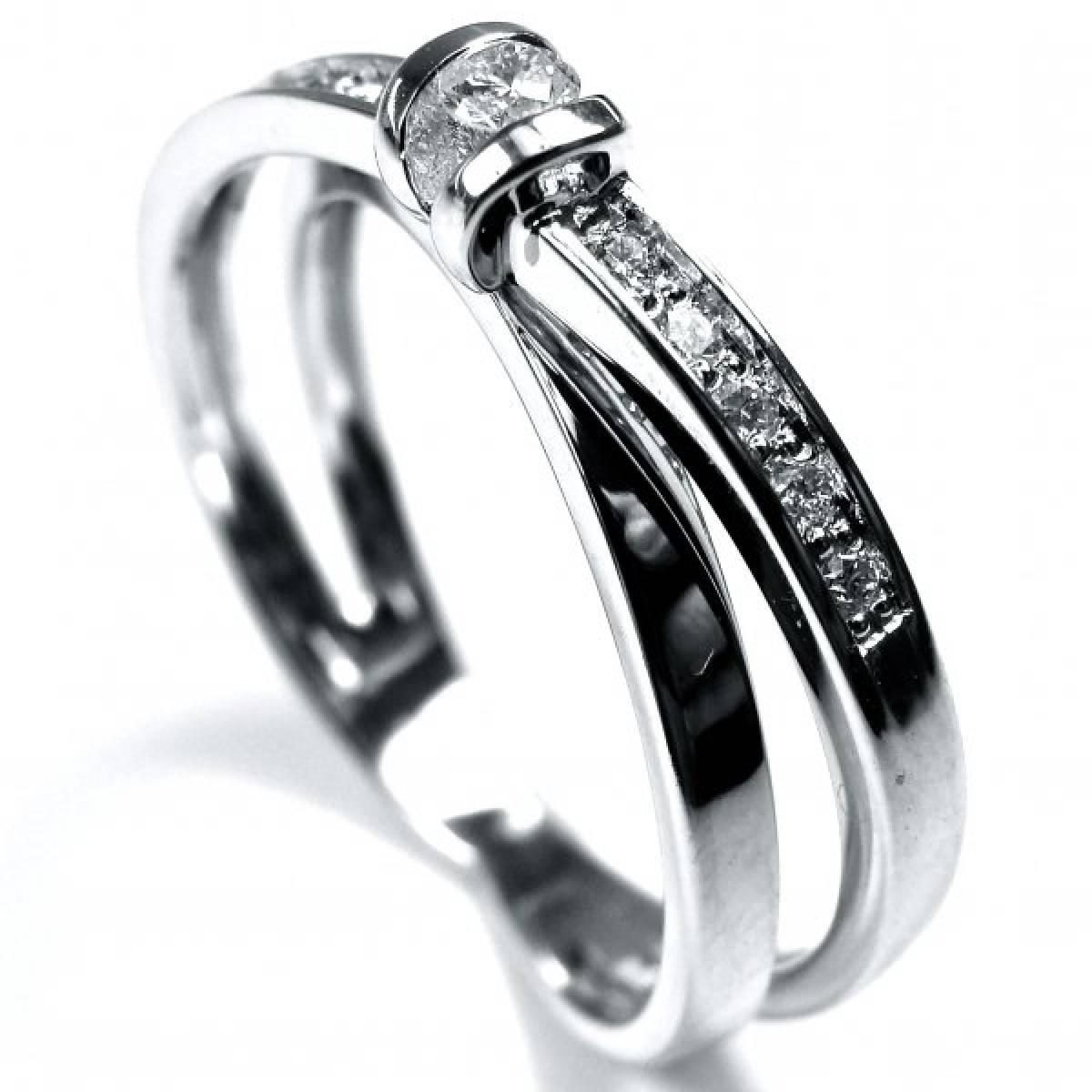 """Anel de Noivado """"PESARUM""""  Ouro Branco com Diamantes ou Zircónias"""