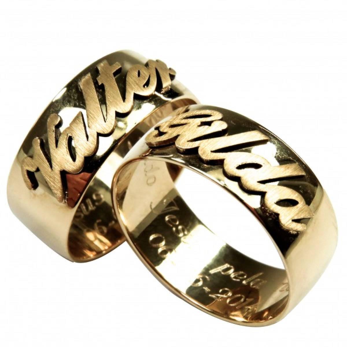 Alianças de Casamento em ouro amarelo de 9 e 19 kts, com nomes