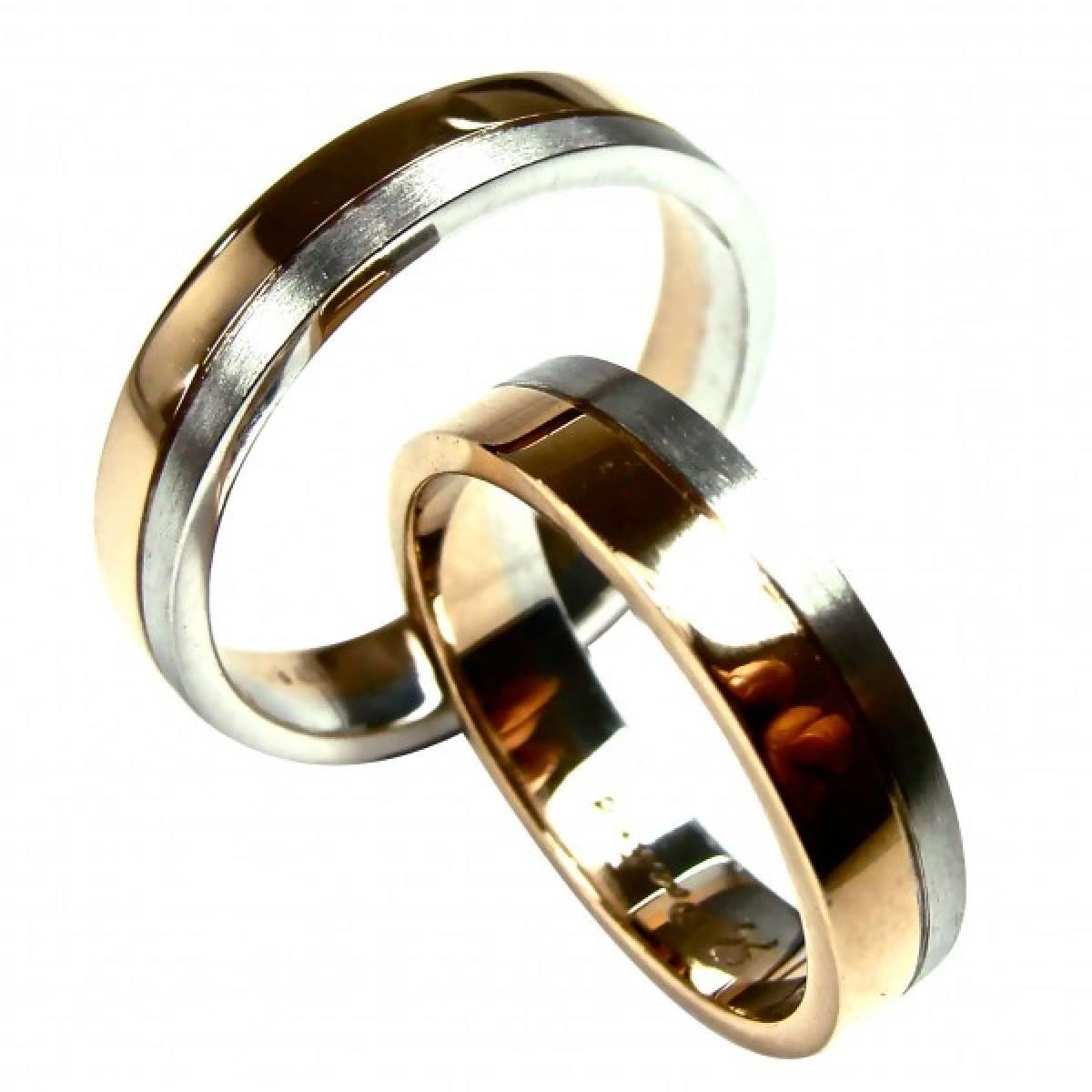 Alianças de Casamento bicolores om ouro de 9 e 19 kts