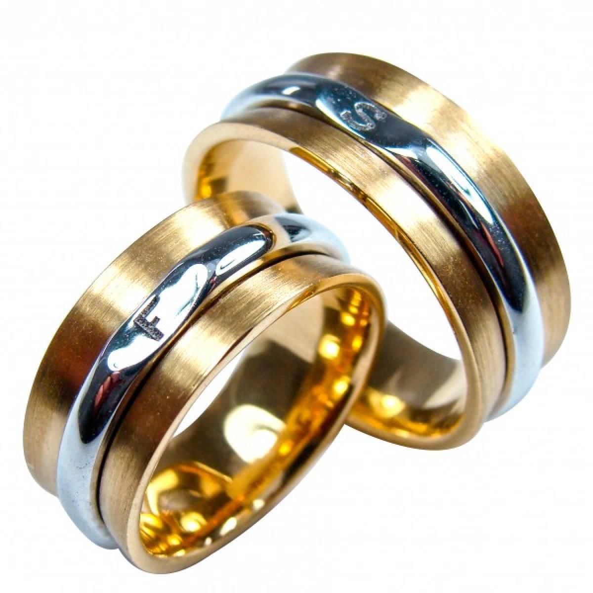 Alianças de Casamento bicolores em ouro de 9 e 19kts