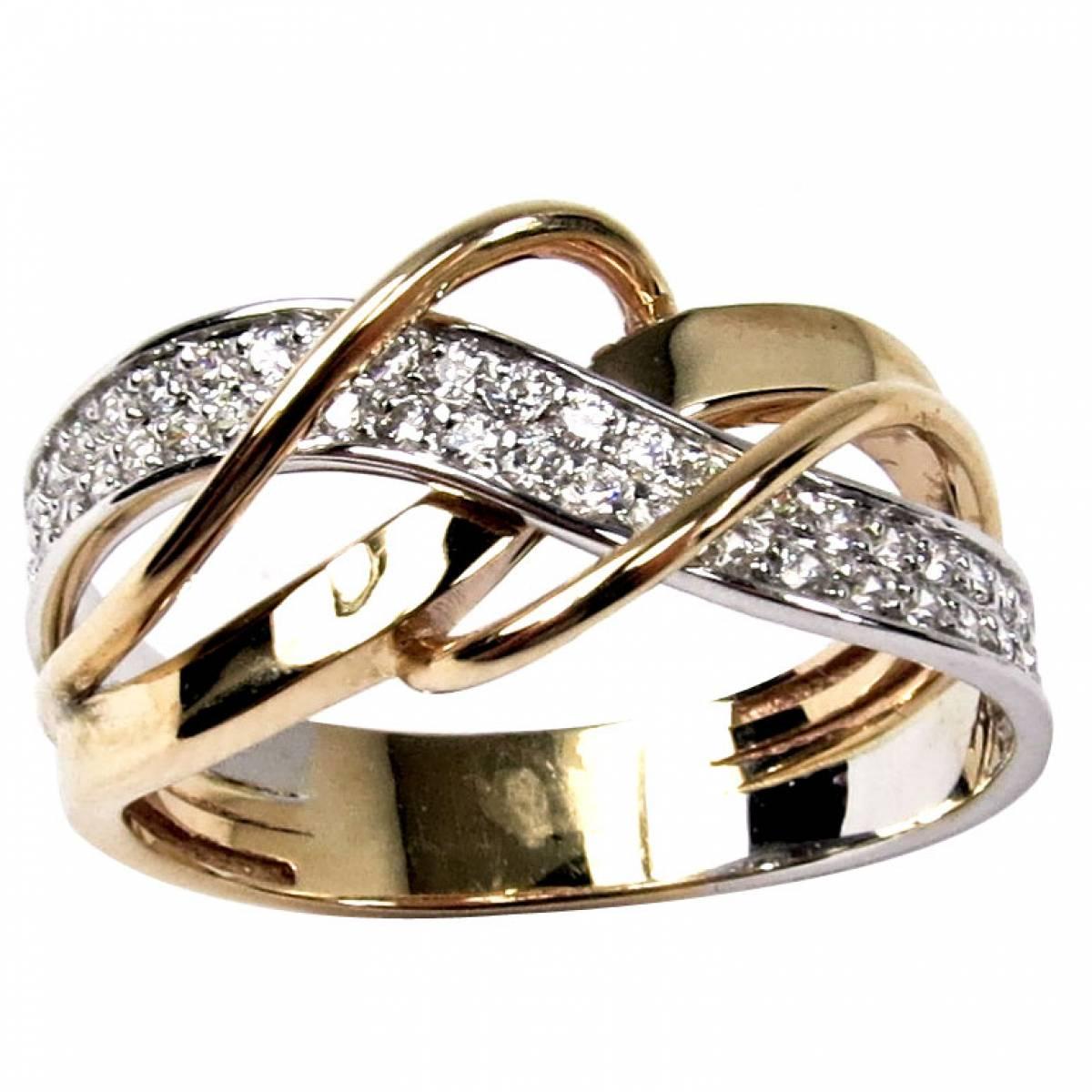 Anel de Noivado em ouro bicolor com diamantes ou zircónias