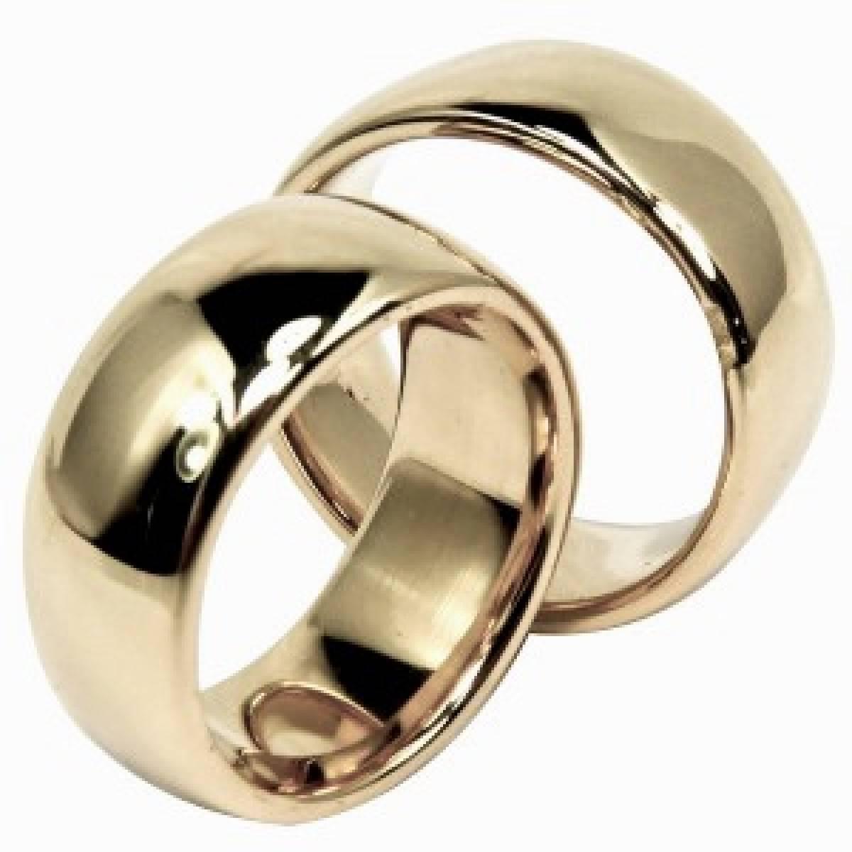 Alianças de casamento, em ouro rosa, branco e amarelo de 9 e 19 kts