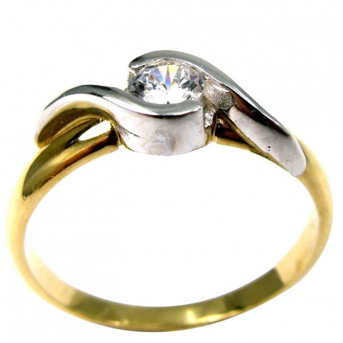 """Anel de Noivado """"PESARUM"""" em ouro 19,2 kts com diamantes ou zircónias"""