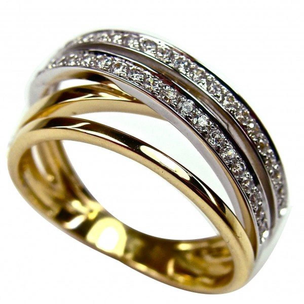 Anel de Noivado em Ouro Bicolor de 9 ou 19 kts, com Diamantes ou zircónias