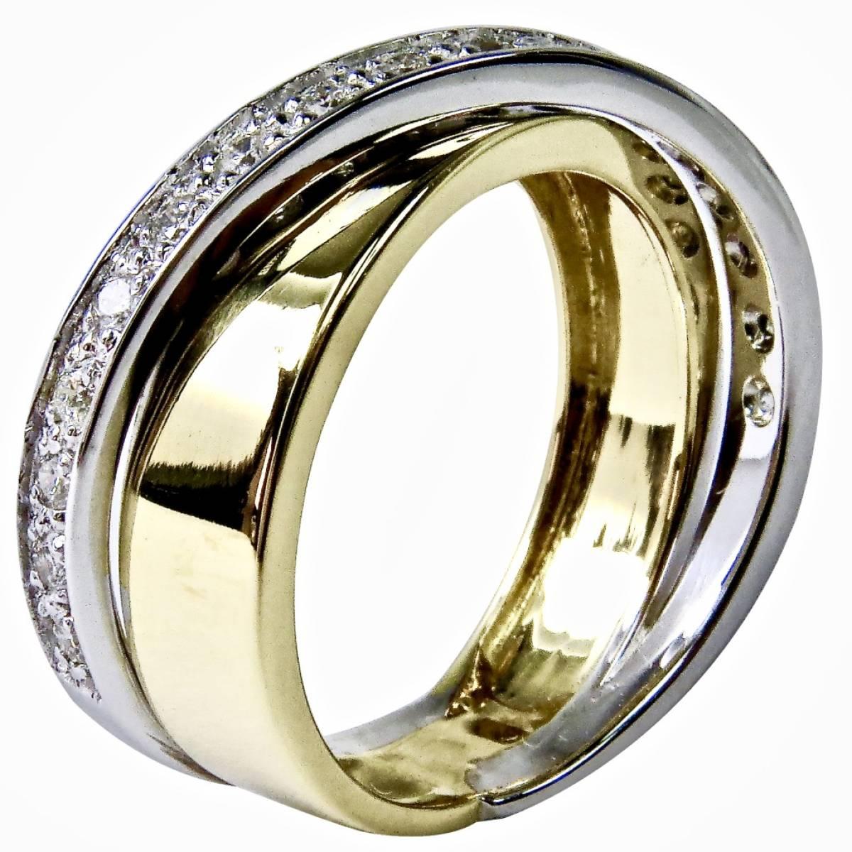 Anel de Noivado em ouro bicolor de 19,2 kts, com diamantes ou zircónias