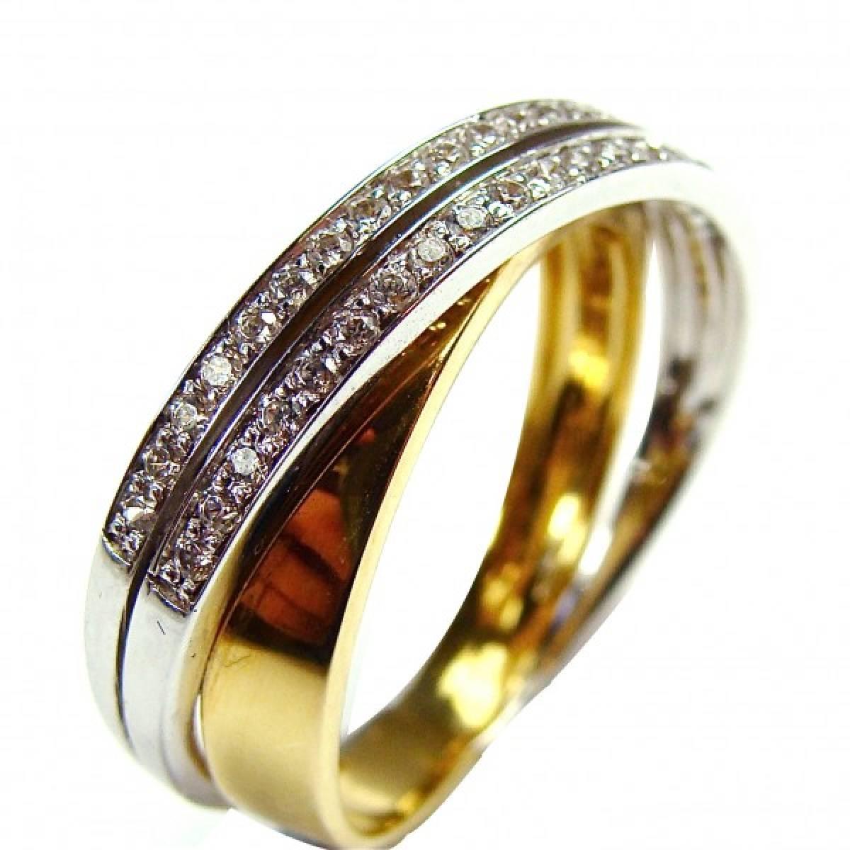 Anel de Noivado em ouro bicolor 9 e 19 kts, com diamantes ou zircónias