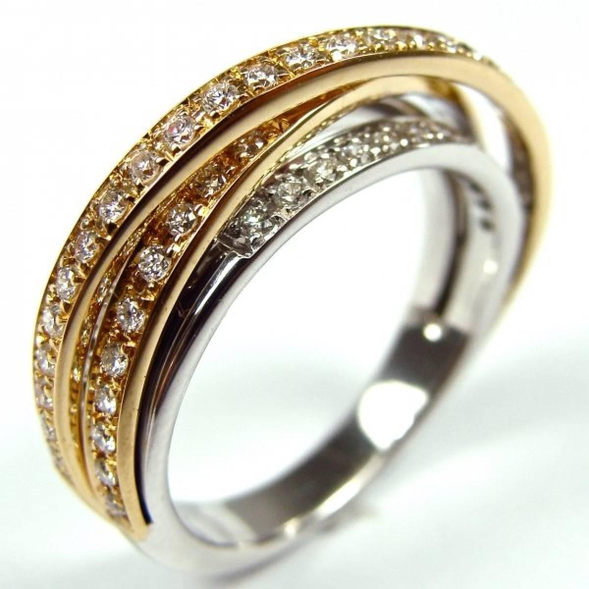 Anel de Noivado Bicolor de 19,2 kts, com Diamantes ou Zircónias