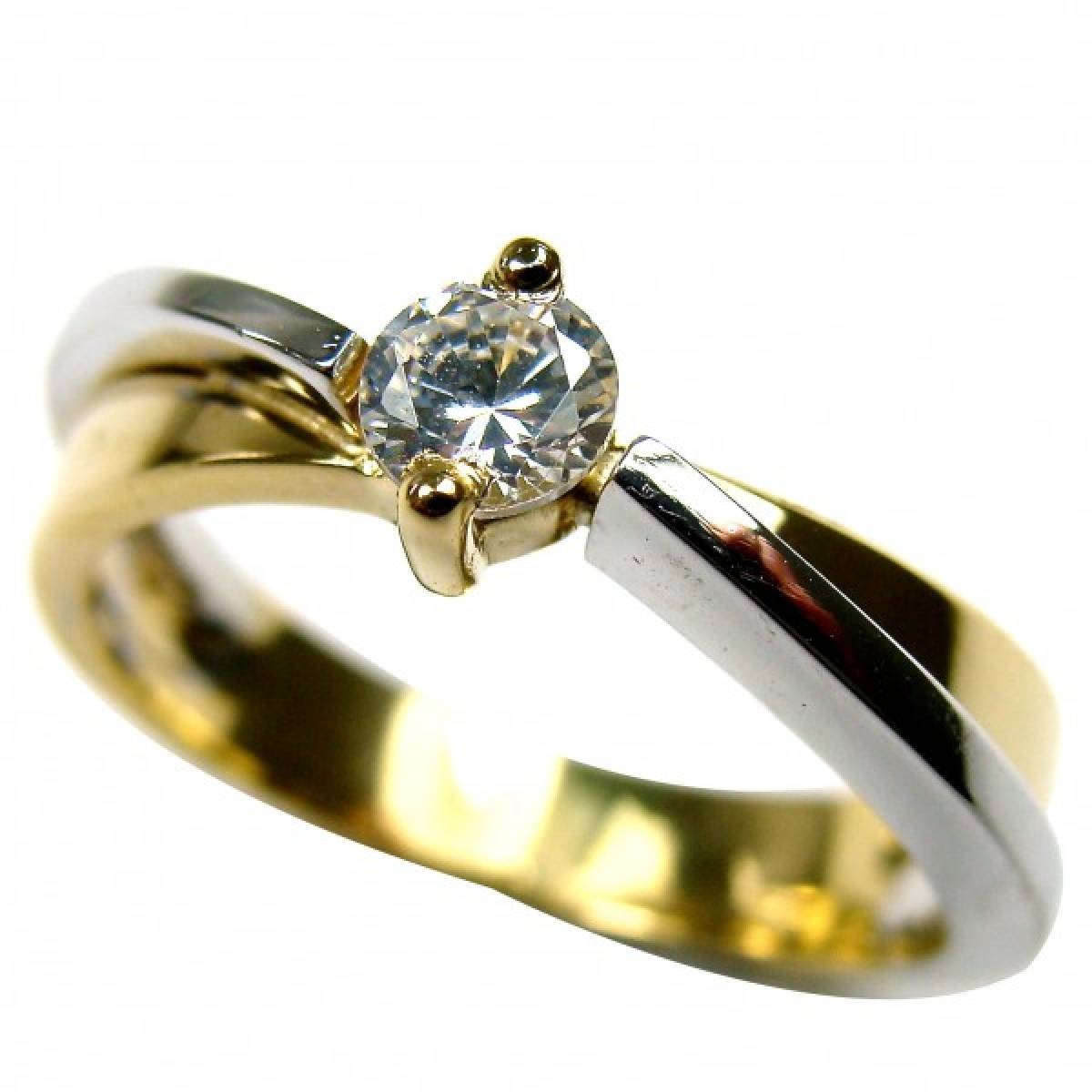 Anel de Noivado Ouro Branco e Amarelo com Diamante ou Zircónia