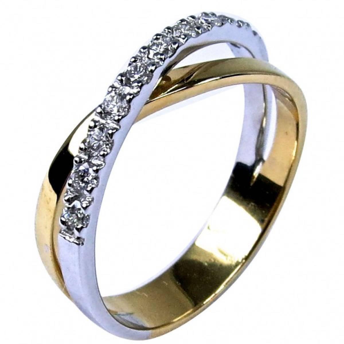 Anel de Noivado ouro bicolor de 9 e 19kts, com diamantes ou zircónias