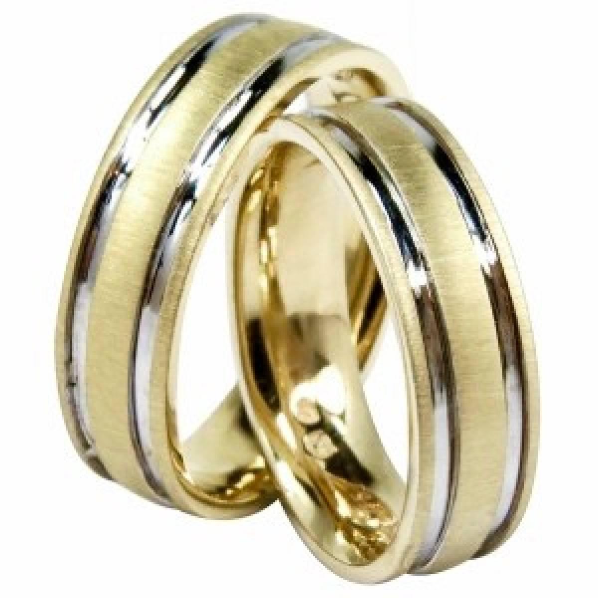 Alianças de Casamento Foscadas em Ouro Bicolor de 9 e 19 kts