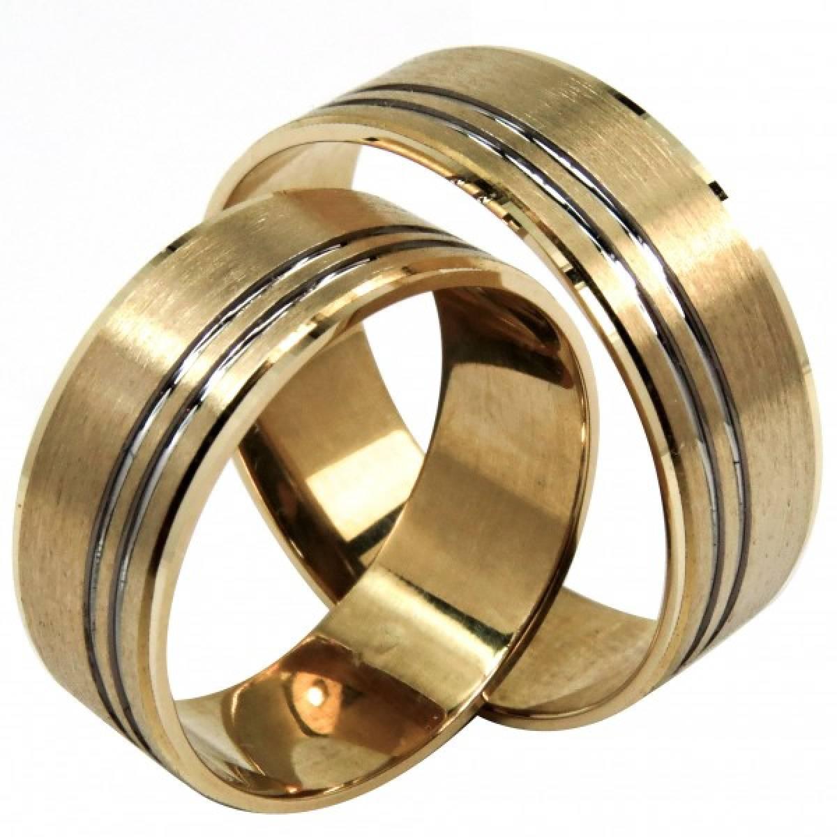 Alianças em Ouro bicolor de 9 e 19,2 kts, Foscadas com frizo