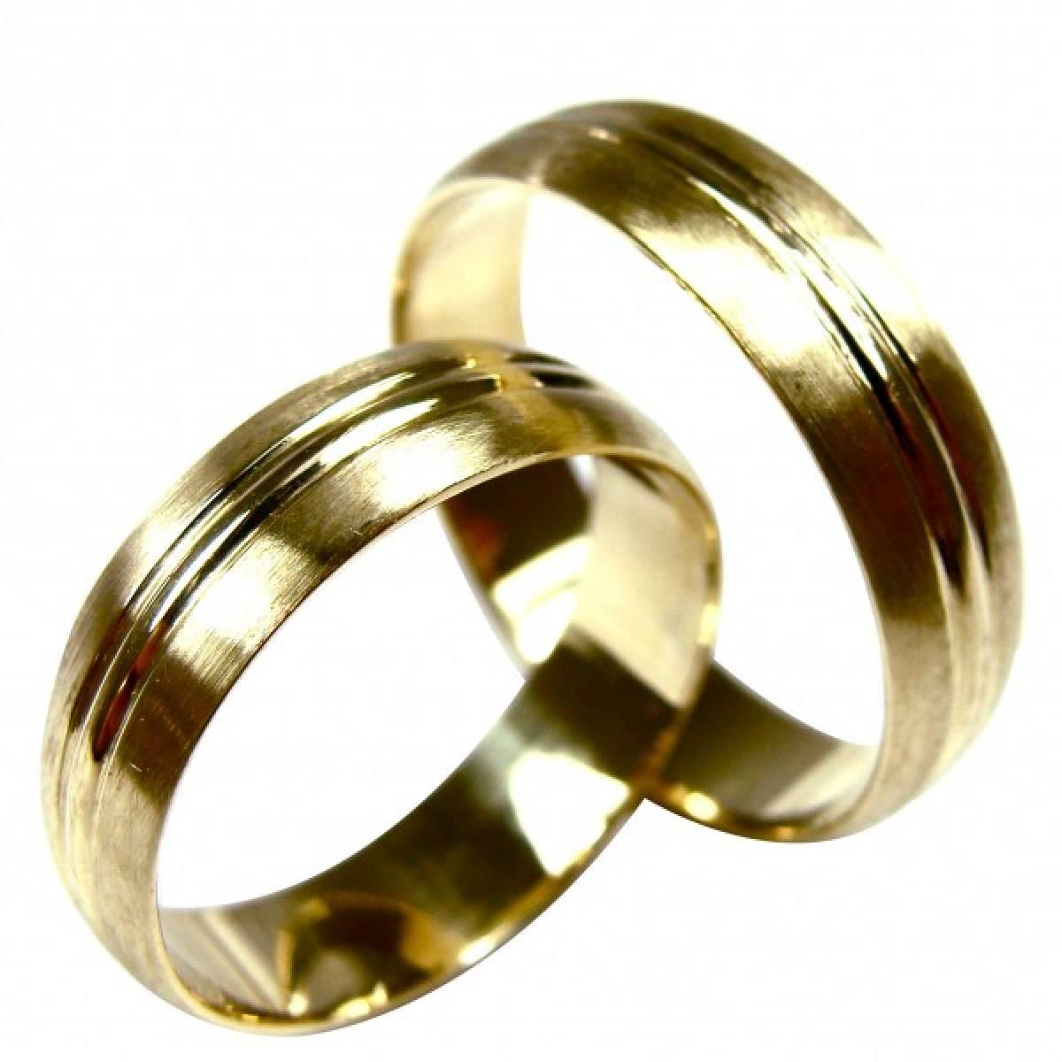 Alianças de Casamento  Foscadas em ouro amarelo de 19,2 KTS